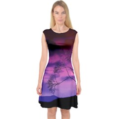 Purple Sky Capsleeve Midi Dress