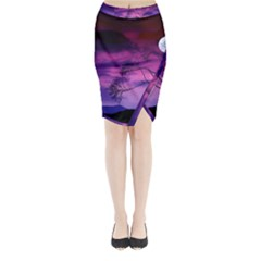 Purple Sky Midi Wrap Pencil Skirt