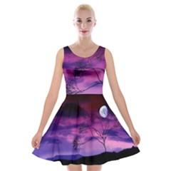 Purple Sky Velvet Skater Dress
