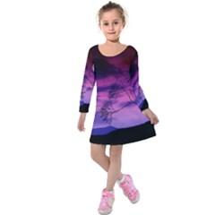 Purple Sky Kids  Long Sleeve Velvet Dress