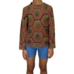 Psychedelic Pattern Kids  Long Sleeve Swimwear