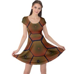 Psychedelic Pattern Cap Sleeve Dresses
