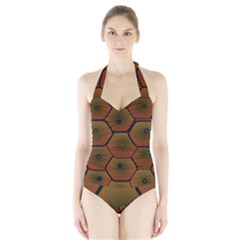 Psychedelic Pattern Halter Swimsuit