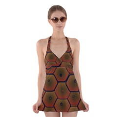 Psychedelic Pattern Halter Swimsuit Dress