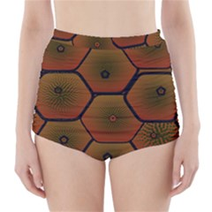 Psychedelic Pattern High-Waisted Bikini Bottoms