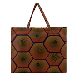 Psychedelic Pattern Zipper Large Tote Bag