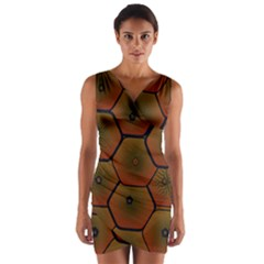 Psychedelic Pattern Wrap Front Bodycon Dress