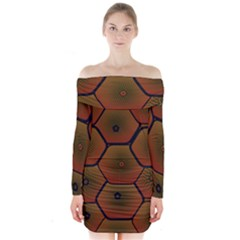 Psychedelic Pattern Long Sleeve Off Shoulder Dress