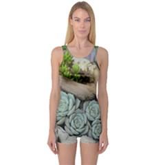 Plant Succulent Plants Flower Wood One Piece Boyleg Swimsuit