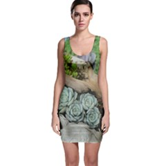 Plant Succulent Plants Flower Wood Sleeveless Bodycon Dress