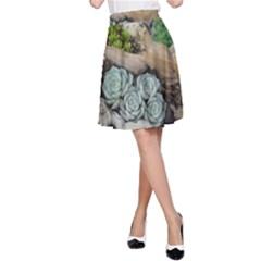 Plant Succulent Plants Flower Wood A-Line Skirt