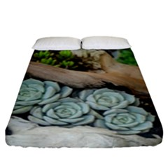 Plant Succulent Plants Flower Wood Fitted Sheet (King Size)