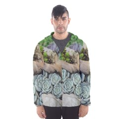 Plant Succulent Plants Flower Wood Hooded Wind Breaker (Men)