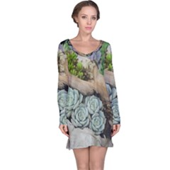 Plant Succulent Plants Flower Wood Long Sleeve Nightdress