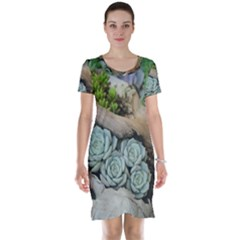 Plant Succulent Plants Flower Wood Short Sleeve Nightdress