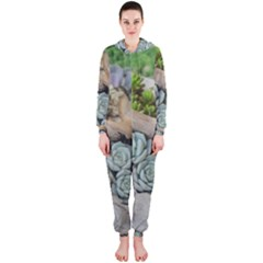Plant Succulent Plants Flower Wood Hooded Jumpsuit (Ladies)