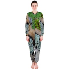 Plant Succulent Plants Flower Wood OnePiece Jumpsuit (Ladies)