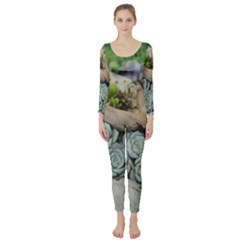 Plant Succulent Plants Flower Wood Long Sleeve Catsuit