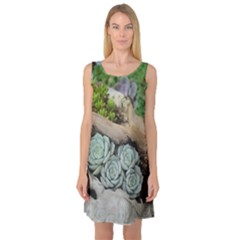 Plant Succulent Plants Flower Wood Sleeveless Satin Nightdress
