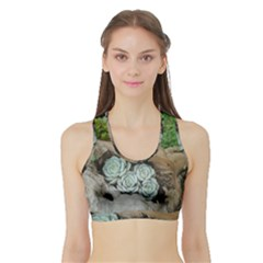 Plant Succulent Plants Flower Wood Sports Bra with Border