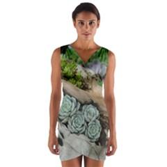 Plant Succulent Plants Flower Wood Wrap Front Bodycon Dress