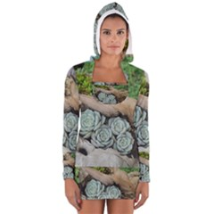 Plant Succulent Plants Flower Wood Women s Long Sleeve Hooded T-shirt