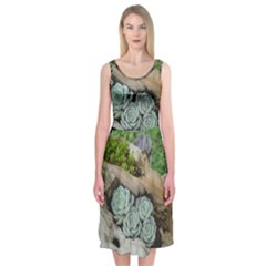 Plant Succulent Plants Flower Wood Midi Sleeveless Dress