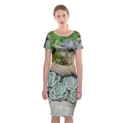 Plant Succulent Plants Flower Wood Classic Short Sleeve Midi Dress