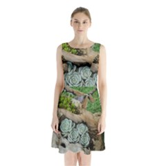 Plant Succulent Plants Flower Wood Sleeveless Chiffon Waist Tie Dress