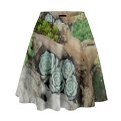 Plant Succulent Plants Flower Wood High Waist Skirt