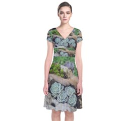 Plant Succulent Plants Flower Wood Short Sleeve Front Wrap Dress