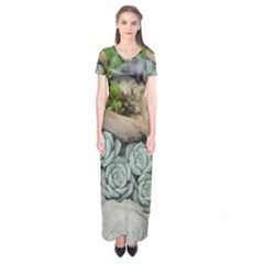 Plant Succulent Plants Flower Wood Short Sleeve Maxi Dress