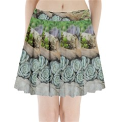 Plant Succulent Plants Flower Wood Pleated Mini Skirt