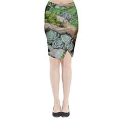 Plant Succulent Plants Flower Wood Midi Wrap Pencil Skirt