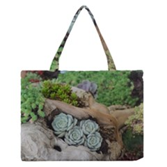 Plant Succulent Plants Flower Wood Medium Zipper Tote Bag