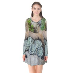 Plant Succulent Plants Flower Wood Flare Dress