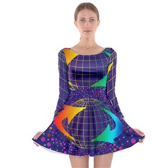 Recycling Arrows Circuit Long Sleeve Skater Dress