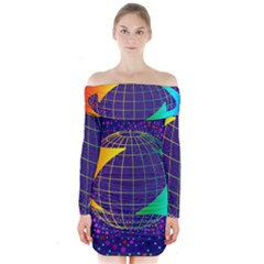 Recycling Arrows Circuit Long Sleeve Off Shoulder Dress