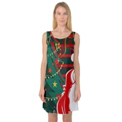 Santa Clause Xmas Sleeveless Satin Nightdress