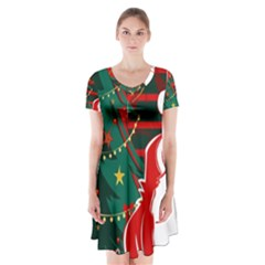 Santa Clause Xmas Short Sleeve V-neck Flare Dress