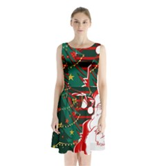 Santa Clause Xmas Sleeveless Chiffon Waist Tie Dress