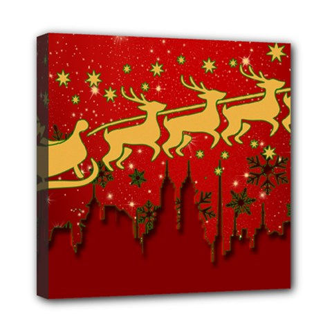 Santa Christmas Claus Winter Mini Canvas 8  x 8