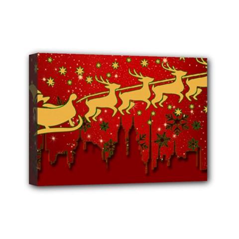 Santa Christmas Claus Winter Mini Canvas 7  x 5