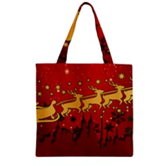 Santa Christmas Claus Winter Zipper Grocery Tote Bag