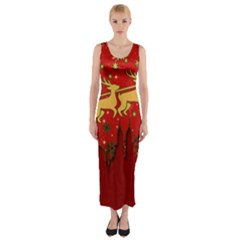 Santa Christmas Claus Winter Fitted Maxi Dress