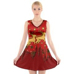 Santa Christmas Claus Winter V-Neck Sleeveless Skater Dress