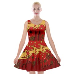 Santa Christmas Claus Winter Velvet Skater Dress