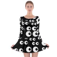 Seamless Eyes Tile Pattern Long Sleeve Skater Dress