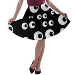 Seamless Eyes Tile Pattern A-line Skater Skirt