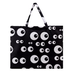 Seamless Eyes Tile Pattern Zipper Large Tote Bag